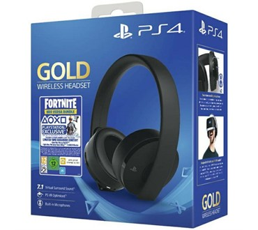 PS4 WIRELESS GOLD HEADSET BLACK + FORTNITE VCH (2019)