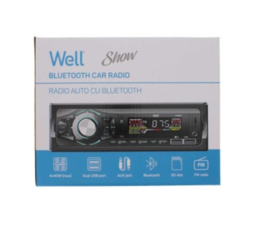 WELL AUTO RADIO, BLUETOOTH, 2X USB, SD UTOR, AUX, 4X 40W